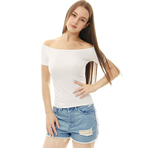 f711c09ae79 Allegra K Women's Slim Fit Short Sleeves Off The Shoulder Cropped Top