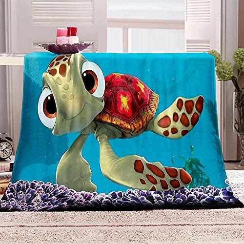 Flanelldecke Kuscheldecke Schildkröten-Karikatur Sherpa Decke 3D Gedruckt Warm Flauschige Decke TV-Decke Sofadecke Wohndecke Tagesdecke Kinderdecken 130x150cm
