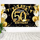 BOYATONG 50. Geburtstag Dekoration Schwarz Gold, Extra