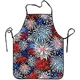 Myrdora Fuochi d'artificio patriottici colorati per adolescenti Grembiuli da Cuoco Resists Overhand Grembiule da Grill