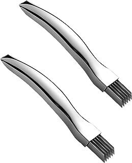 Yagerod 2 Stück Edelstahl gehacktes Frühlingszwiebelmesser, Gemüseschneider Sharp Scallion Cutter Shred Knife, multifunktionale Küchenhelfer