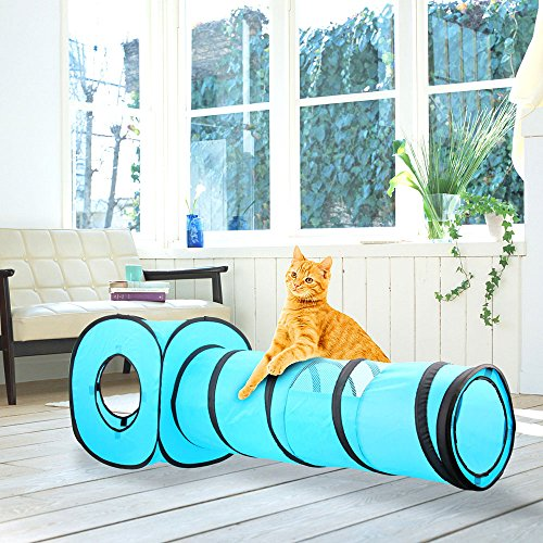 Juguete para Gatos All For Pawise con Forma de túnel y Cubo de Gato Plegable para Interiores y Exteriores
