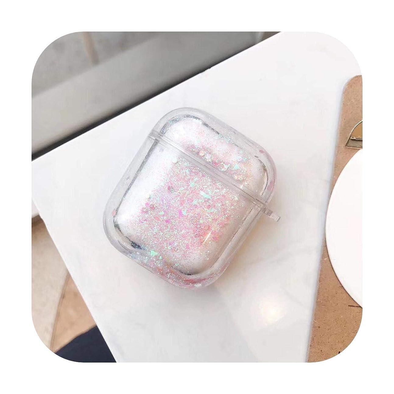 科学熱狂的なサルベージシンプルな流砂型Airpods用カバーfor for AppleワイヤレスBluetoothヘッドセットパーソナリティクリエイティブハードシェル粉砕防止カバー-ピンクの流砂-Airpods用1 / 2世代に適用可能