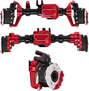 Toyvian 1 Pair Aluminum Axle Front Rear Axle 1/10 RC Rock Crawler Axle Compatible with Traxxas4 Trx6 (Black Red, Front Axle + Rear Axle)