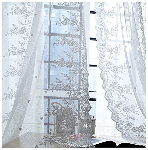 SCOFEEL HOME 1er Spitze Blume Fenster Vorhang Gardinen Fensterschal Dekoschal für Wohnzimmer Kinderzimmer Schlafzimmer