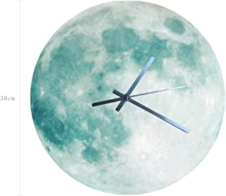 Sannysis SANNYSISLuminous Moonlight Wall Clock 3D Watch Moon Glow in The Dark Clock Kids, Boys, Girls, Baby Playroom (Green)