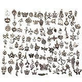 100pcs argento antico tibetano ciondoli charm pendente accessori misti ciondolo per gioielli fai da te pendenti portachiavi bracciale collana orecchini gioielli trovare craft decorazione accessori