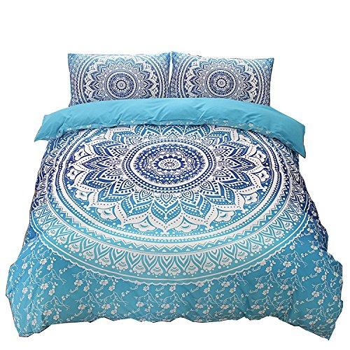 DasyFly Bohemian Bedding Blue Mandala Duvet Cover Set Queen Size 3pc Luxury Boho Chic Floral Bedding Soft Microfiber Mandala Hippie Quilt Duvet Cover with Zipper Closure