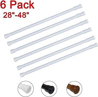 6 Pack Spring Tension Curtain Rod Adjustable Length for Kitchen, Bathroom, Cupboard, Wardrobe, Window, Bookshelf DIY Proje...