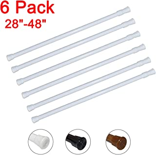 6 Pack Spring Tension Curtain Rod Adjustable Length for Kitchen, Bathroom, Cupboard, Wardrobe, Window, Bookshelf DIY Projects (White - 6 Pack,28