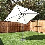 Kingfisher Cream 2m x 3m Aluminium Parasol with Crank and Tilt Outdoor Garden Patio Furniture