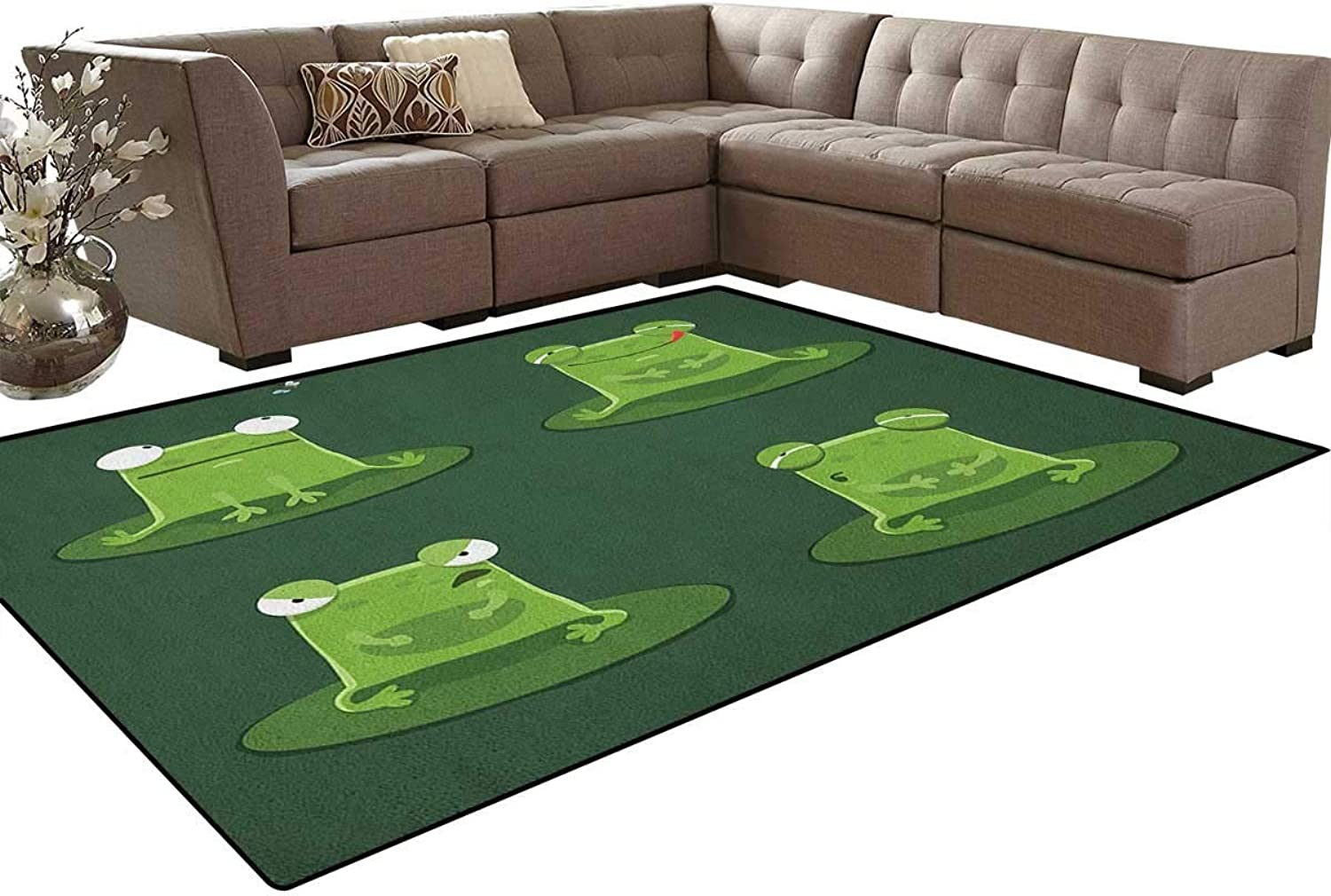 Funny Muzzy Frog on Lily Pad in Pond Hunting Tasty Fly Expressions Cartoon Animal Floor Mat Rug Indoor Front Door Kitchen and Living Room Bedroom Mats Rubber Non Slip