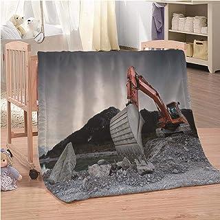 CLZHAO Mantas para Sofa Excavador Manta de Forro Polar Impresa Mullida Colchas Plaids para Cama para Niños Adultos Manta Sólida Mantas Foulard para Cama Sofá 150x200cm