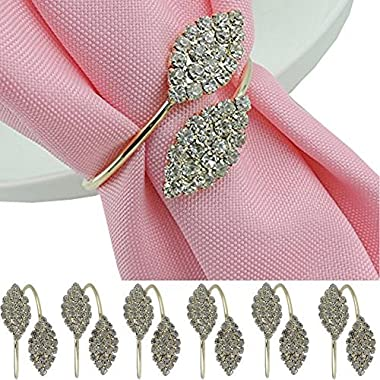 iDili Napkin Rings Set of 6 Pcs Rhinestone Napkin Ring Holders Pack of 6 Handmade Serviette Buckles for Wedding and Dinner Party