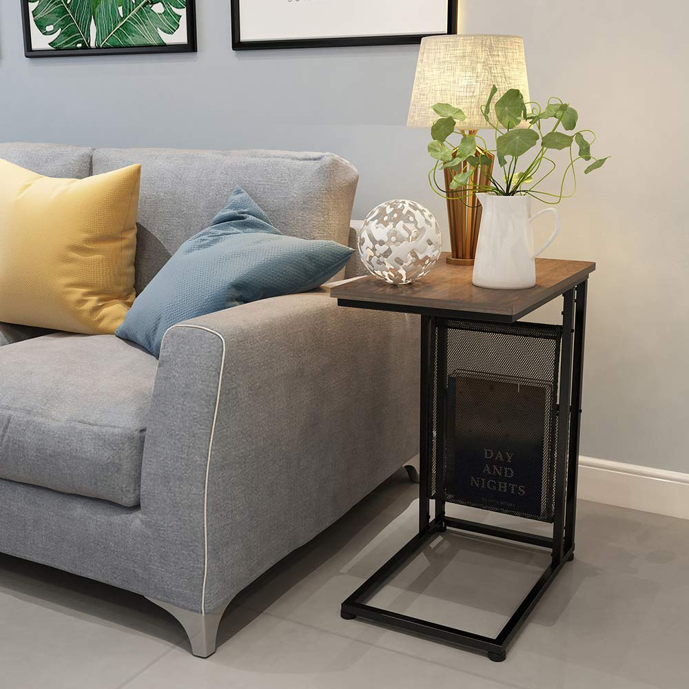 Brown EKNITEY Sofa C Side Tables Living Room,Portable End Table Rustic Snack Table Couch Table for Small Space