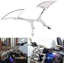 Espejo de Motocicleta Triangular de 8MM/10MM para Sportster Dyna Softail XL883 Cruiser Scooter Chopper (Plata)