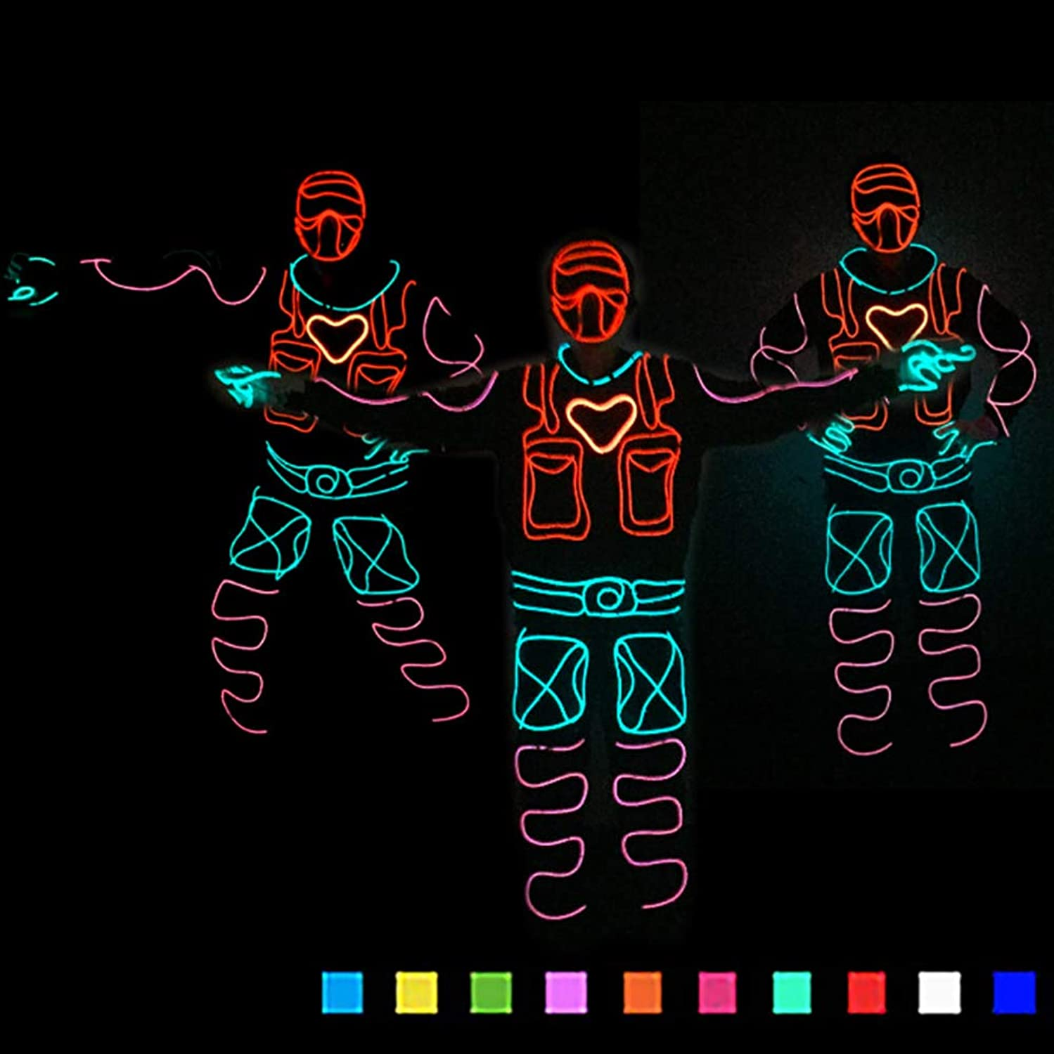 DHTW&R EL Cold light Night show Fluorescent Dance Glowing clothes Lights up Stick Figure Man Costume Battery Powered Masquerade party Costume