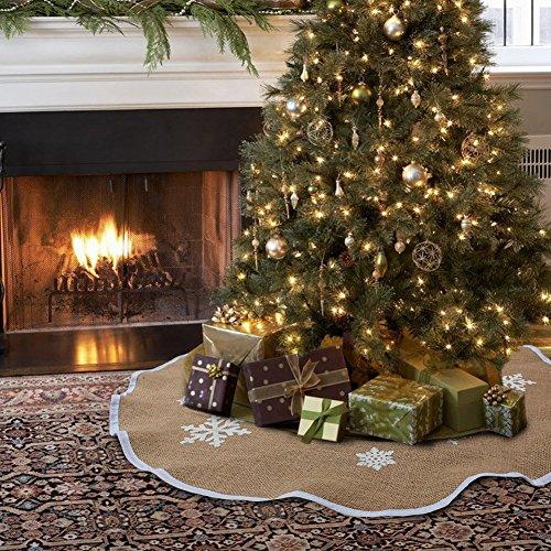 Aytai Jupe de sapin de Noël 121,9 cm en toile de jute avec imprimé flocons de neige blancs pour intérieur ou extérieur