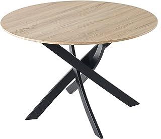 Skraut Home - Table à Manger Ronde Fixe, Salon, Modèle Zen, Structure Couleur chêne, Pieds métalliques, 100x100x75cm