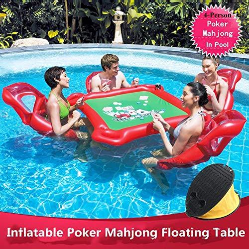 K.K Aufblasbarer Sitz Mahjong Tisch 4 aufblasbare Wasserstühle und 1 Tisch mit 4 Getränkehaltern 90kg hohe Last mit Fußpumpe Für Erwachsene Wasserspaß