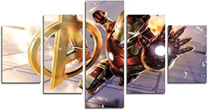 AtfArt 5 Piece Iron Man Marvel Avengers Super Age Super Age canvas painting for living room home decor Canvas art wall pos...