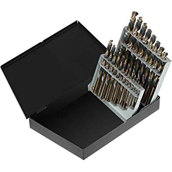 15 Piece 1//16-1//2 SAE Neiko 10037A Left Hand Drill Bit Set ,Clear M2 HSS With Titanium Nitride Coating