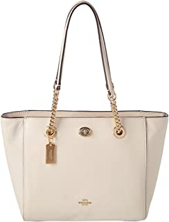 COACH Women's Pebbled Turnlock Chain Tote 27