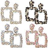 4 Pairs Rhinestone Crystal Dangle Earrings Rectangle Geometric Statement Earrings Rhinestone Drop Earrings Jewelry for Women