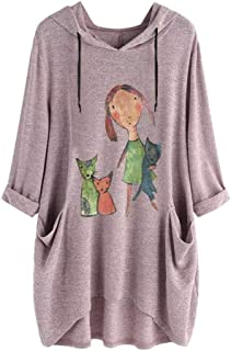 Mlide Little Girl And Dog Pattern Pullover Side Pocket,Womens Casual Long Sleeves Irregular Hooded Top Blouse