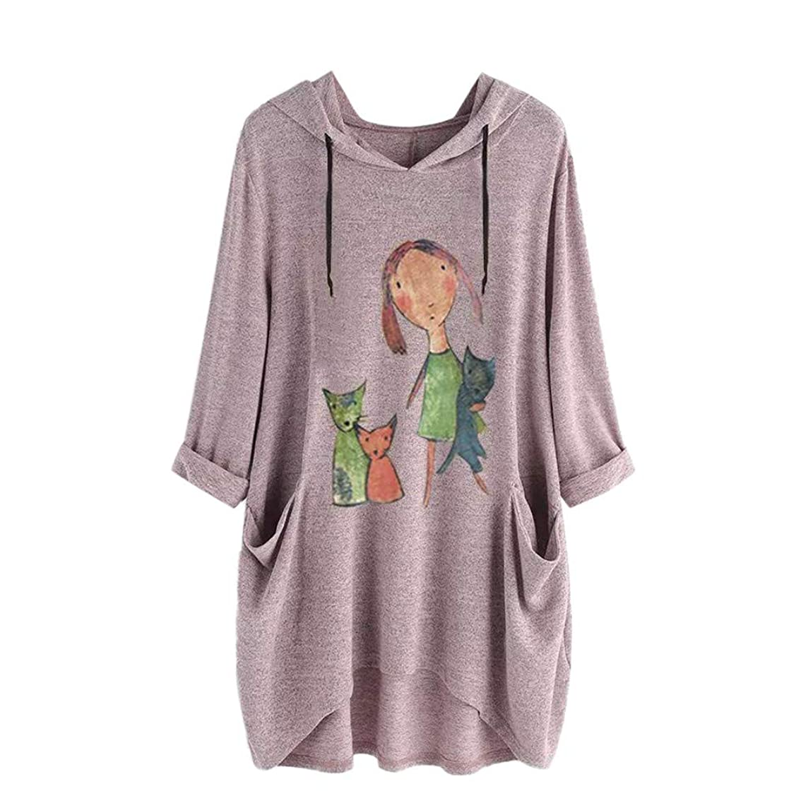 Willow S Women Fashion Comfy Casual Cute Print Long Sleeve Side Pocket Hooded Irregular Loose Top Blouse Hoodies