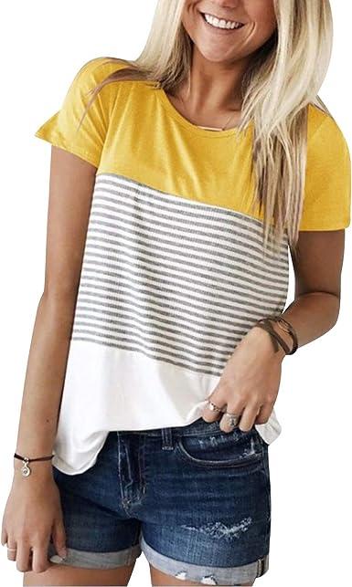Camiseta Rayas Mujer Camisetas Manga Corta Mujeres Basicas Anchas Estampadas Tops Chica Verano Top Damas Casual Bonitas Remeras Largas Playeras ...