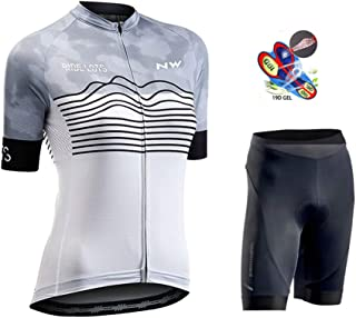 Women's Cycling Jersey Biking Shirt Jacket Tops Short Sleeve Quick Dry Breathable Mountain Bib Shorts with 19D Gel Padded,C,4XL