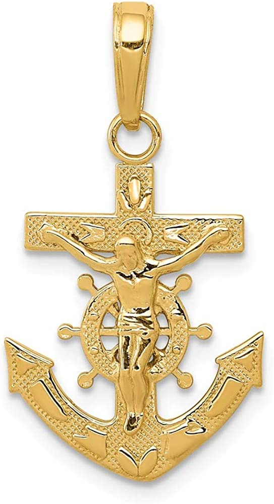 Solid 14k Yellow Gold Anchor Mariners Cross Pendant Crucifix Charm - 25mm x 15mm