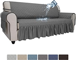 Easy-Going Sofa Slipcover Skirt Sofa Cover Waterproof Couch Cover with Pocket Furniture Protector Cover with Elastic Straps for Pets Kids Children Dog Cat (Sofa, Gray)