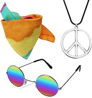 KERIQI Hippie Dressing Accessory Set, 70s Hippie Costume for Women with Sunglasses, Peace Sign Necklace, Tie Dye Headband Rainbow