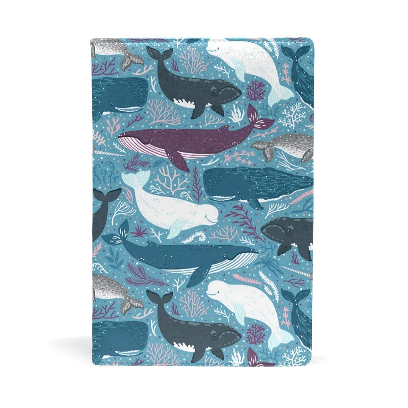 献身ジャベスウィルソン酸化する鯨柄 白紫青 ブックカバー 文庫 a5 皮革 おしゃれ 文庫本カバー 資料 収納入れ オフィス用品 読書 雑貨 プレゼント耐久性に優れ