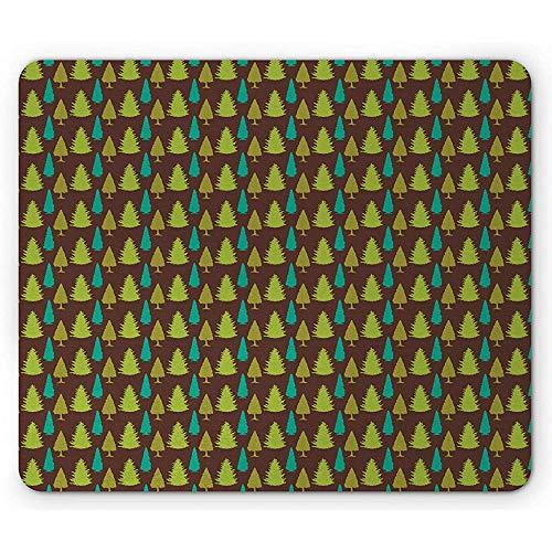 Pine Tree muismat, sparren herfst bos bomen groenblijvende planten natuur, rechthoek anti-slip rubber muismat, bruin appel groen
