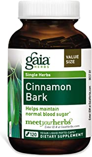 Gaia Herbs Cinnamon Bark, Vegan Liquid Capsules, 120 Count - Glycemic Balance & Normal Blood Sugar Support, Organic Cinnamon