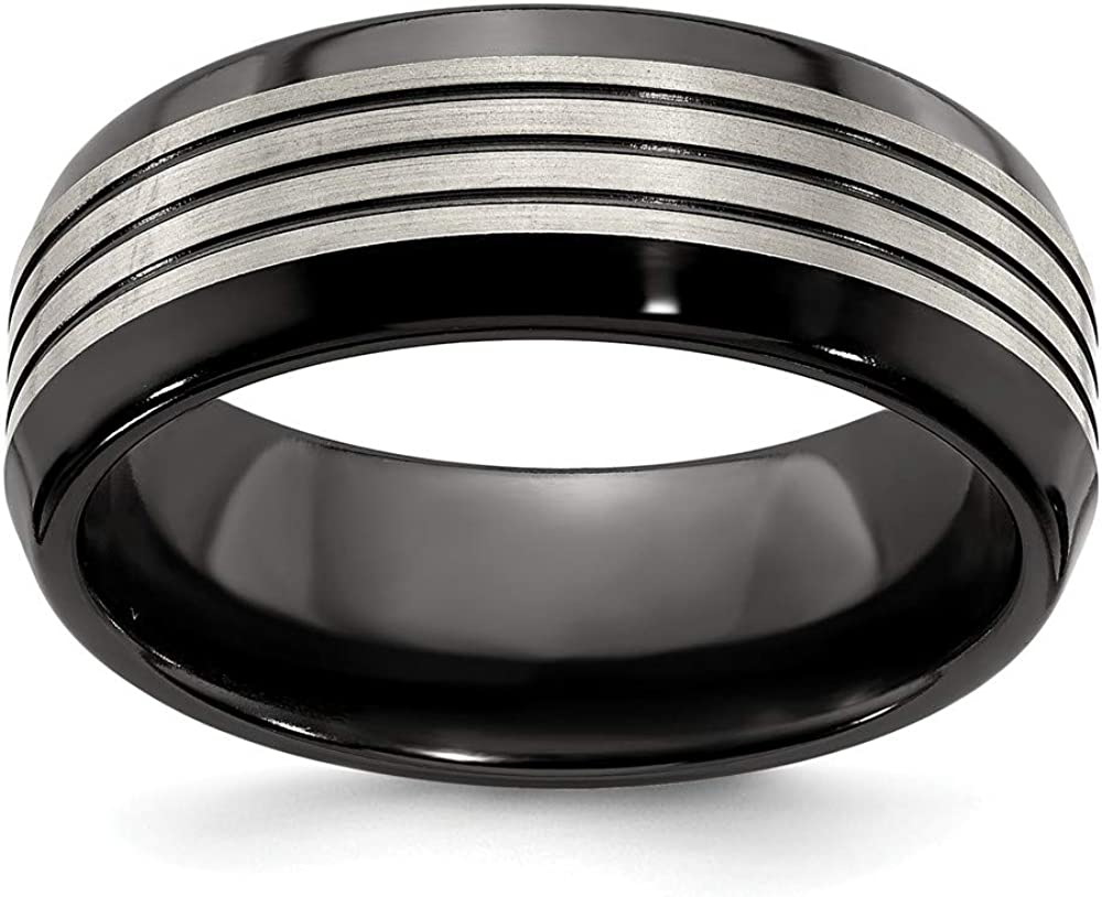 ICE CARATS Edward Mirell Titanium Black Flat Top Beveled Edge 8mm Wedding Ring Band Man Classic Fashion Jewelry for Dad Mens Gifts for Him