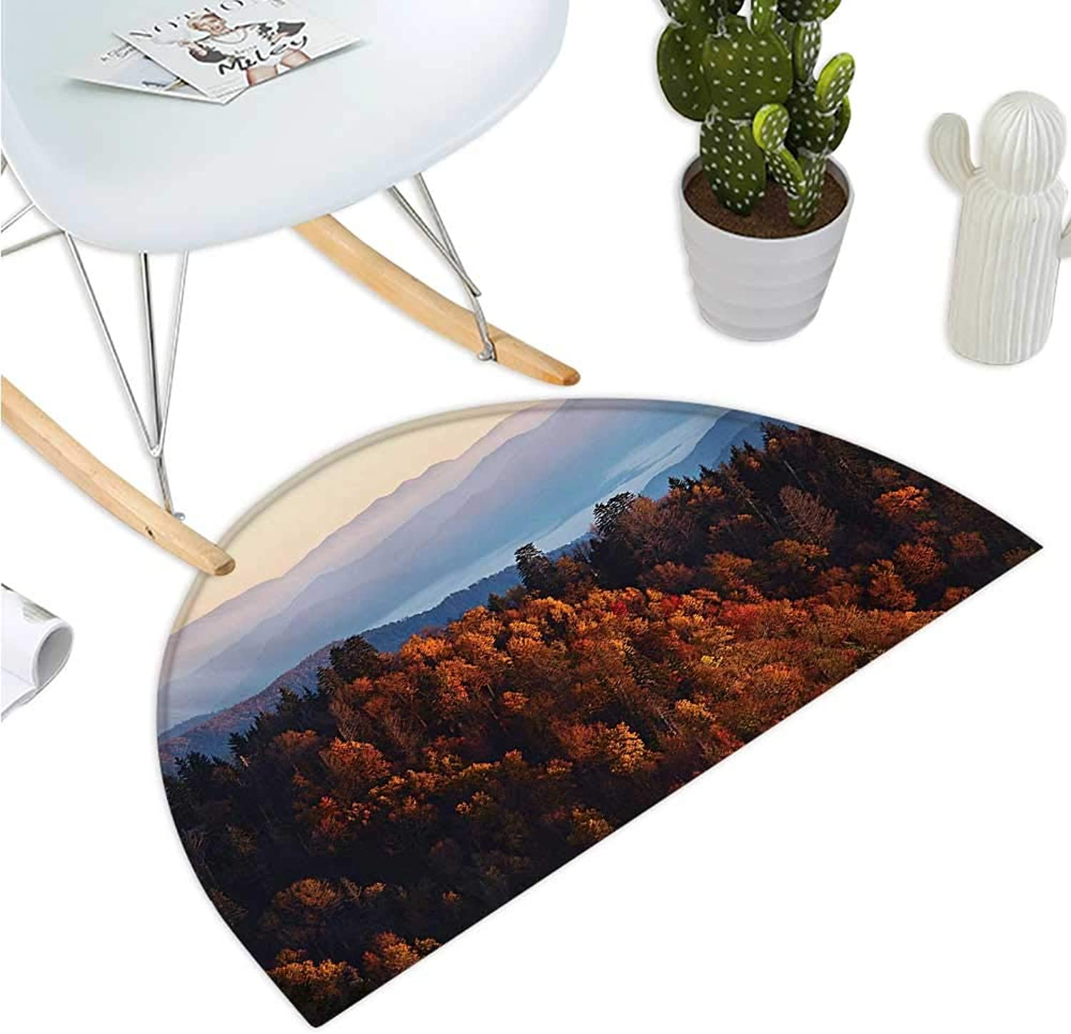 National Parks Semicircle Doormat Sunrise at The Mountains Pine Trees Covered on Hill Mist South Carolina Entry Door Mat H 35.4  xD 53.1  Multicolor