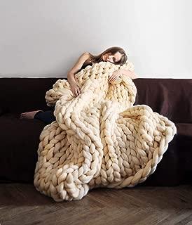 clootess Chunky Knit Blanket Merino Wool Hand Made Throw Boho Bedroom Home Decor Giant Yarn (Beige 47
