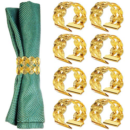 hatatit Gold Mesh Napkin Rings Set of 8 Round Napkin Holders Metal Wires Weaving Serviette Rings for Dinner Parties Weddings Family Gatherings Table Decoration