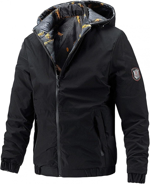 XUNFUN Windbreaker Jackets for Men Lightweight Breathable Double-Sided Wear Printed Hooded Softshell Jacket Outwear