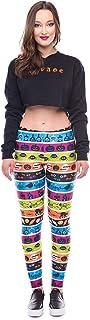 DingXW の女性のレギンス3Dプリントカラーストライプハロウィンレイ蛍光レギンスの女性のヨガレギンスのレギンス (Color : Yellow, Size : S)