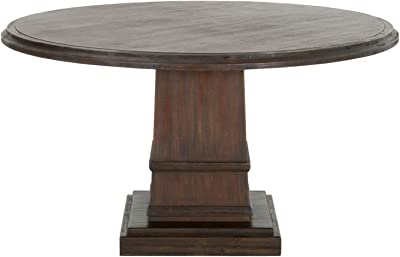 Benzara BM174197 Round Dining Table with Pedestal Base, Brown, One