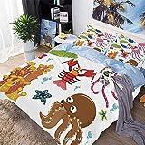 Juego de sábanas Juego de funda nórdica de 3 piezas Juego de cama, bajo el mar, tema de vida silvestre, criaturas divertidas en estilo de dibujos animados, acuario marino divertido, 100% microfibra, s