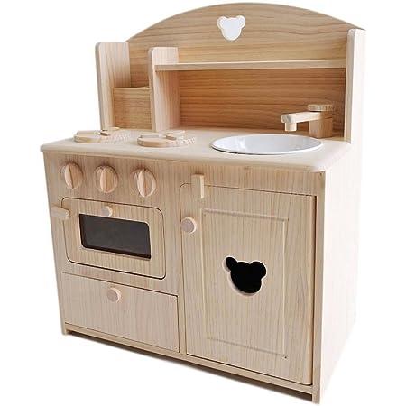 木製おままごとキッチン小 (クマの切抜き)、角形まな板ナイフセット