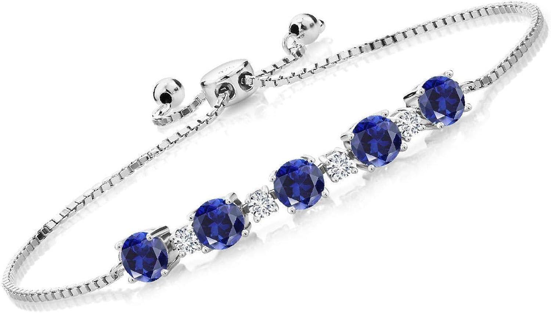 Gem Stone King 3.26 Ct Blue Max 72% OFF Created Cheap Sapphire G Diamo H Lab Grown