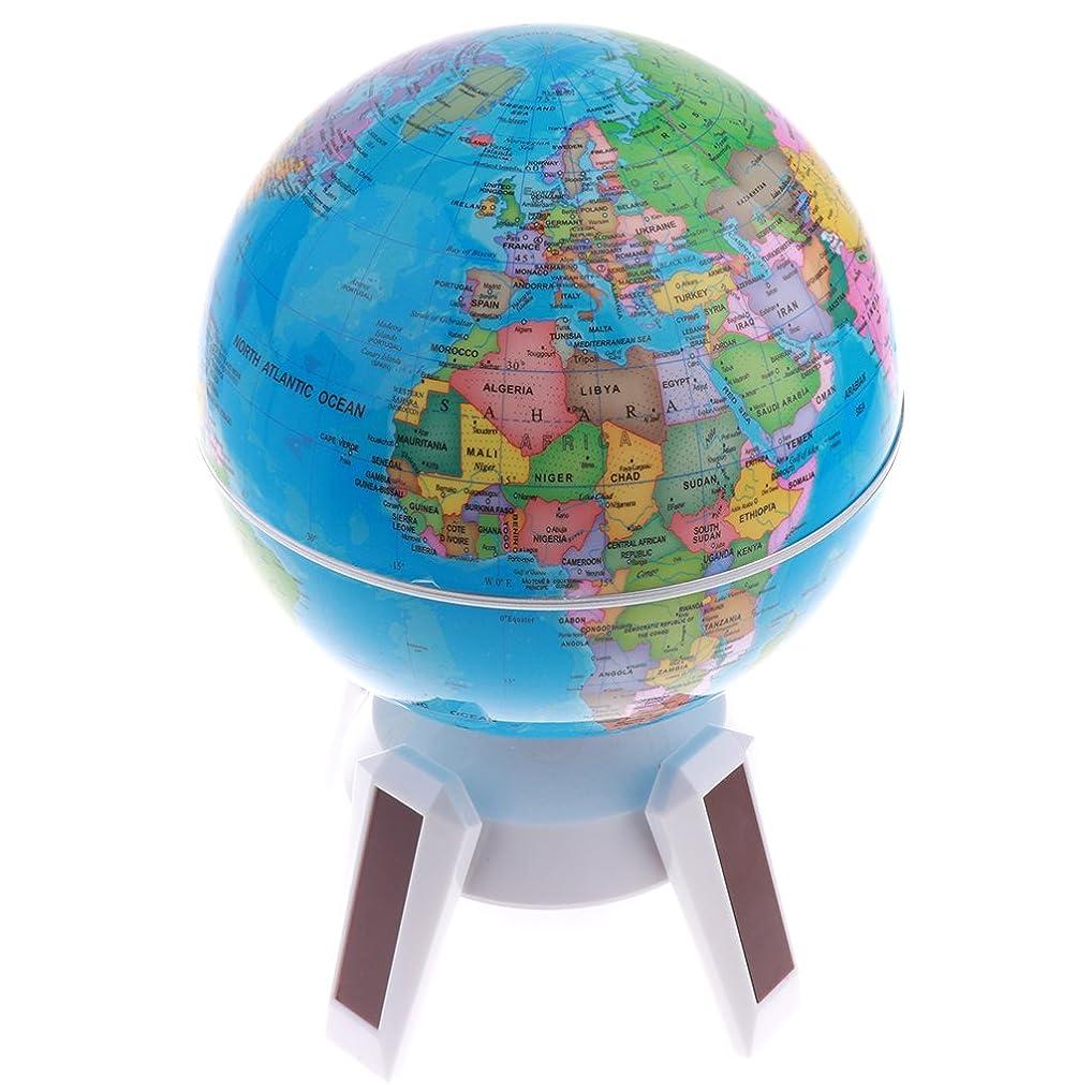 地下室悪魔根拠Perfk 全2カラー 太陽光発電 360°回転 グローブ 地理 世界地球地図 ワールドグローブ 地球儀 - 白