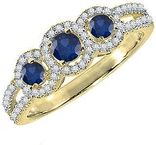 10K Round Blue Sapphire & White Diamond Ladies Engagement Ring, White Gold